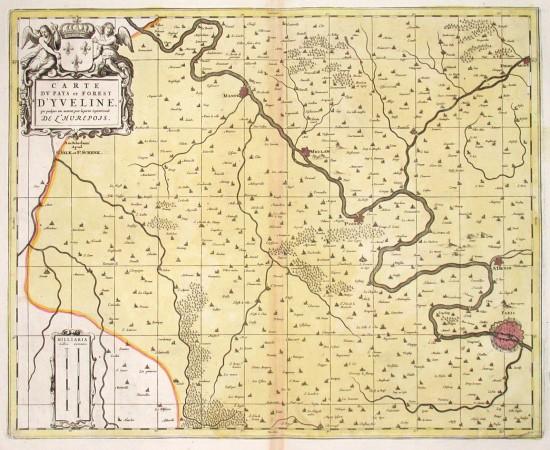 Carte du Pays et Forest d'Yveline que quelques uns mettent pour la partie Septentrionale de l'Hurepois - Alte Landkarte