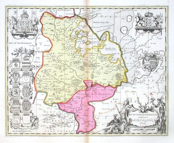 Hvntingdonensis Comitatvs Huntington Shire - Alte Landkarte