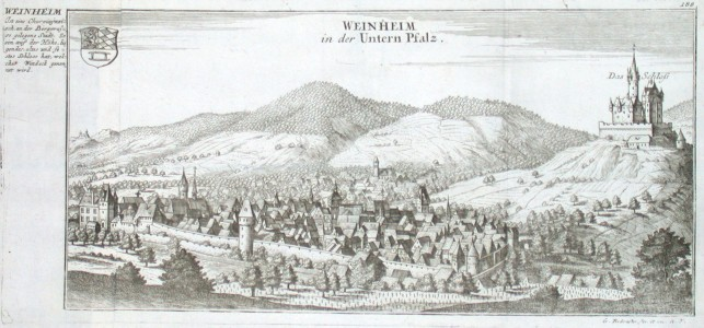 Weinheim in der Unteren Pfalz - Antique map