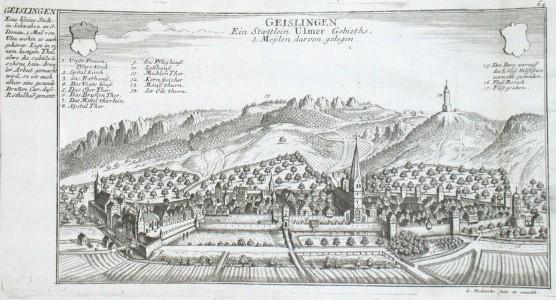 Geislingen Ein Staettlein Ulmer Gebieths, 3. Meylen darvon gelegen - Stará mapa