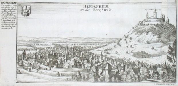 Heppenheim an der Berg Strass - Alte Landkarte