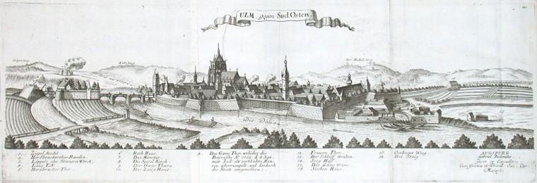 Ulm, gegen Sud Osten - Alte Landkarte
