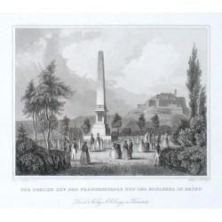 Der Obelisk auf dem Franzensberge und der Spielberg in Brünn
