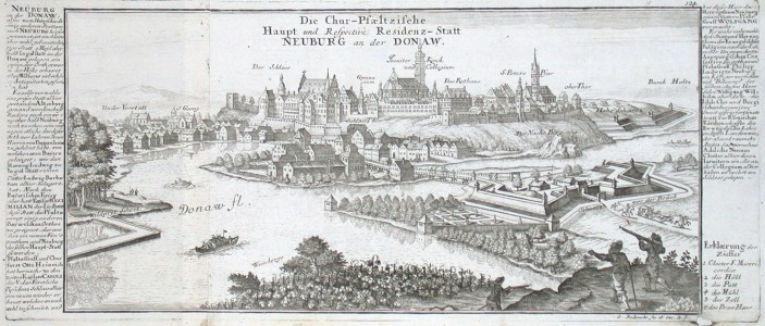 Die Chur-Pfaeltzische Haupt und Respective Residenz-Statt Neuburg an der Donaw - Alte Landkarte