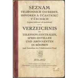 Seznam telefonních ústředen, hovoren a účastníků  v Čechách 1931-1932