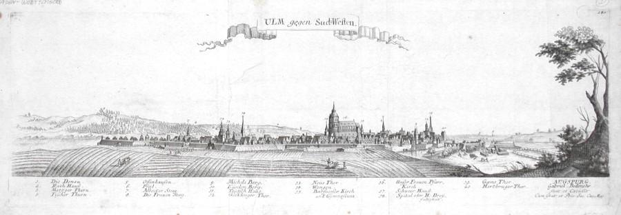 Ulm gegen Sud-Westen - Alte Landkarte