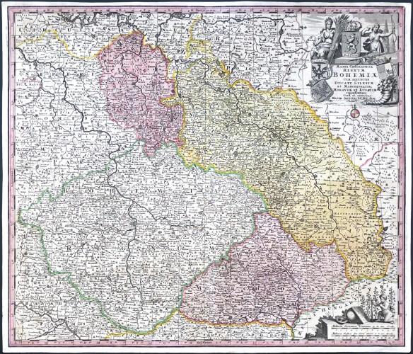 Mappa Geographica Regnum Bohemiae cum Adiuntis Ducatu Silesiae, et Marchionatib. Moraviae et Lusatiae repraesentans