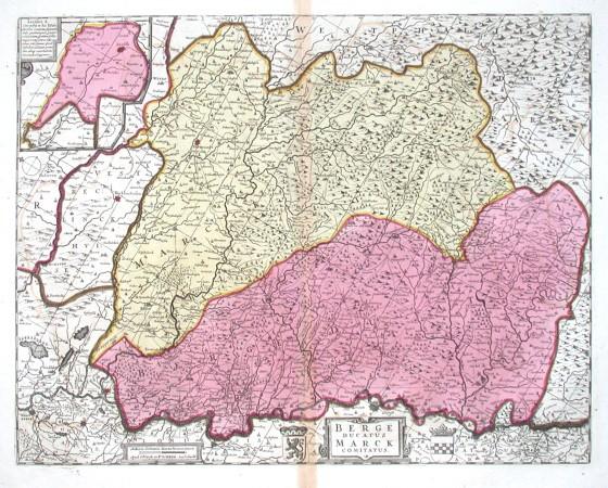Berge Ducatus Marck Comitatus - Alte Landkarte