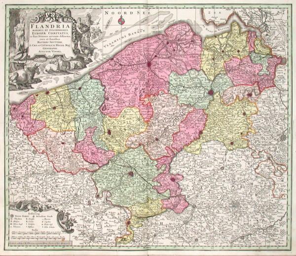 Flandria maximus et pulcherrimus Europae Comitatus - Alte Landkarte