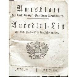 Amtsblatt ... Auředlnj-List ... prachynského kragského auřadu