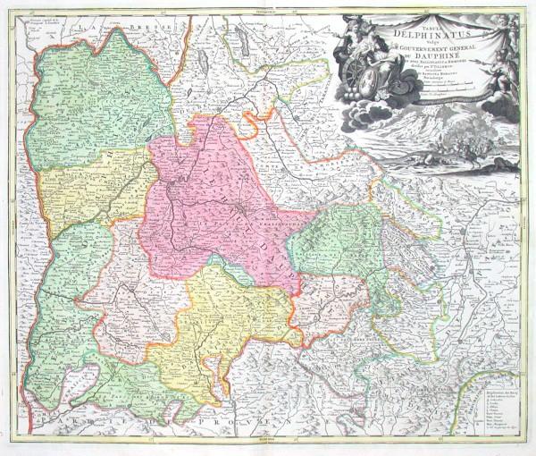 Tabula Delphinatus Vulgo le Gouvernement general du Dauphiné - Stará mapa