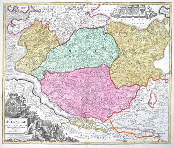Tabula Generalis Holsatiae complectens Holsatiae Dithmarsiae Stormariae et Vagriae Ducatus - Alte Landkarte