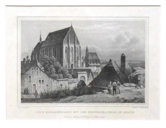 Die St. Nicolauskirche mit der Wenzelskapelle in Znaym - Antique map
