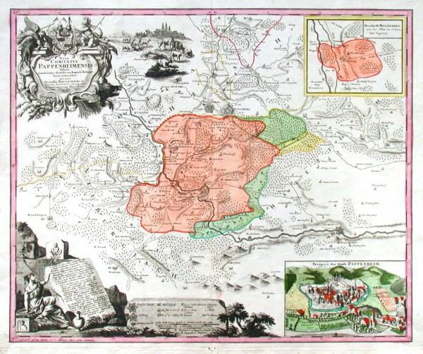 Nova Comitatus Pappenheimensis tabula - Alte Landkarte