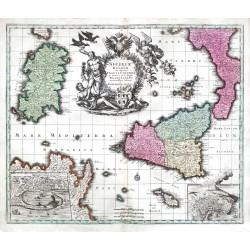 Siciliae Regnum, cum adjacente Insula Sardinia et maxima parte Regni Neapolitani