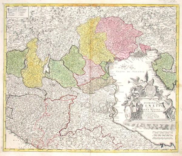 Dominii Veneti cum vicinis Parmae Mutinae Mantuae et Mirandolae Statibus Nova Descriptio - Alte Landkarte