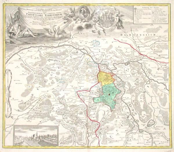 Geographica Descriptio Montani cuiusdam Districtus in Franconia in quo Illustrissimorum S. R. I. Comitum a Giech Particulare - Alte Landkarte