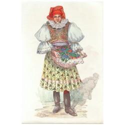 Slovácké děvče s hrozny