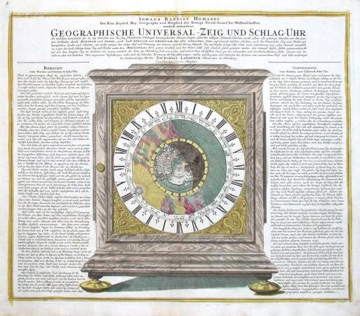 Geographische Universal - Zeig und Schlag - Uhr - Alte Landkarte
