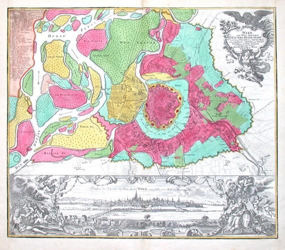 Wien die Welt berühmte Kayserl. Resid. Stadt - Alte Landkarte