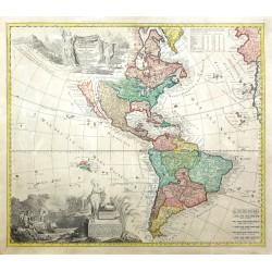 Americae tam Septentrionalis quam Meridionalis in Mappa Geographica Delineatio