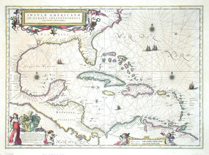 Insulae Americanae in Oceano Septentrionali cum Terris adiacentibus - Antique map