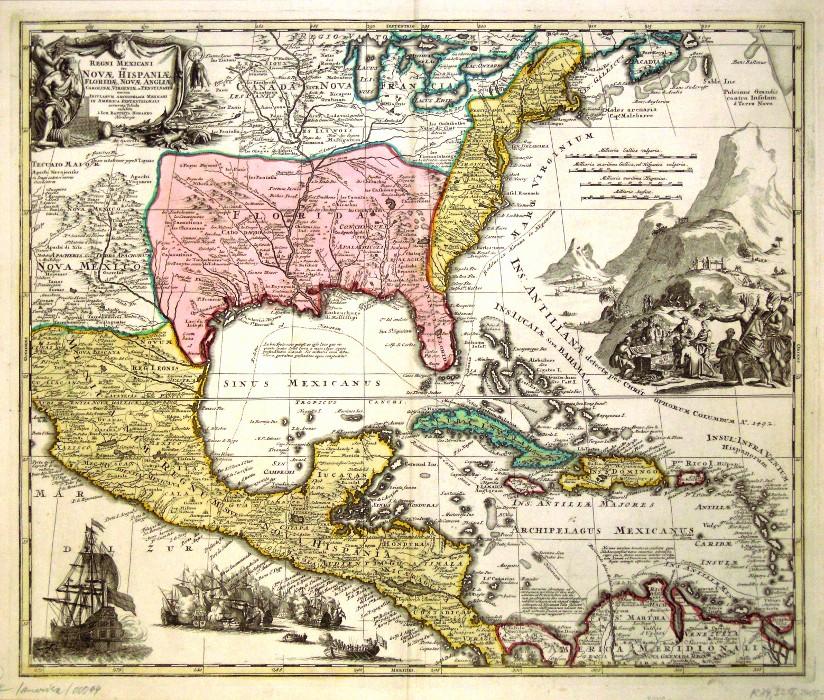 Regni Mexicani seu Novae Hispaniae, Floridae, Novae Angliae, Carolinae, Virginiae, et Pennsylvaniae  exhibita - Stará mapa