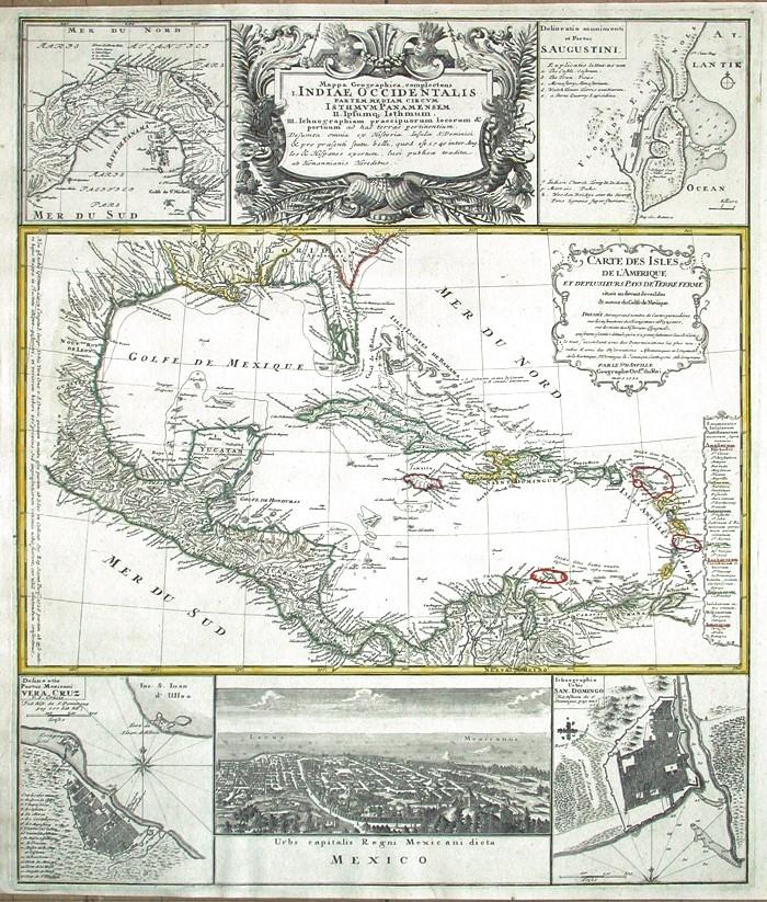 Mappa geographica complectens I. India Occidentalis - Alte Landkarte