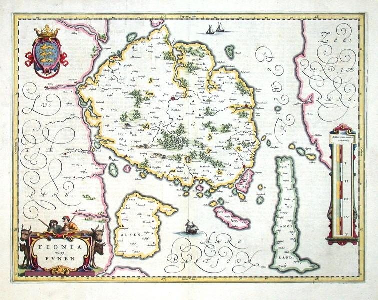 Fionia vulgo Funen - Antique map