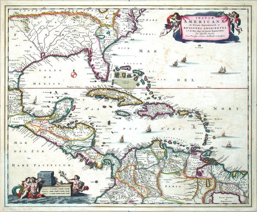 Insulae Americanae in Oceano Septentrionali - Antique map