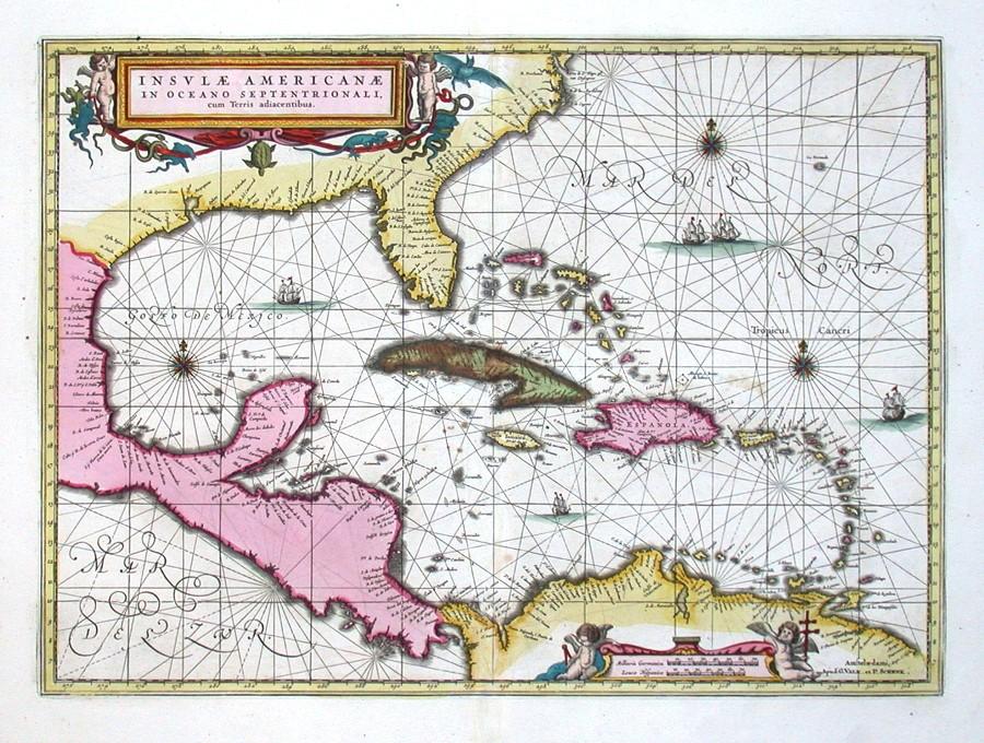 Insulae Americanae - Alte Landkarte