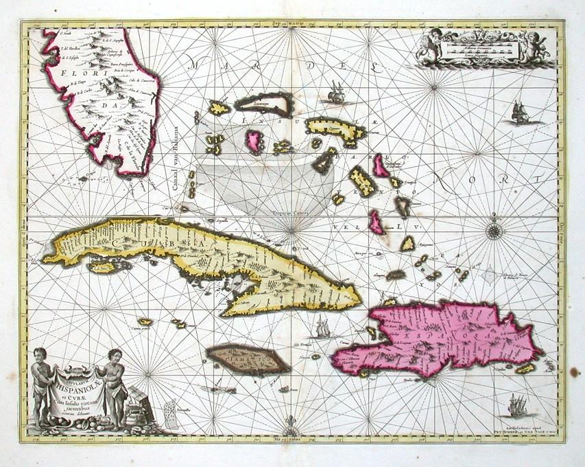Insularum Hispaniolae et Cubae delineatio - Stará mapa