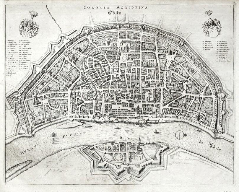 Colonia Agrippina. Cölln - Alte Landkarte
