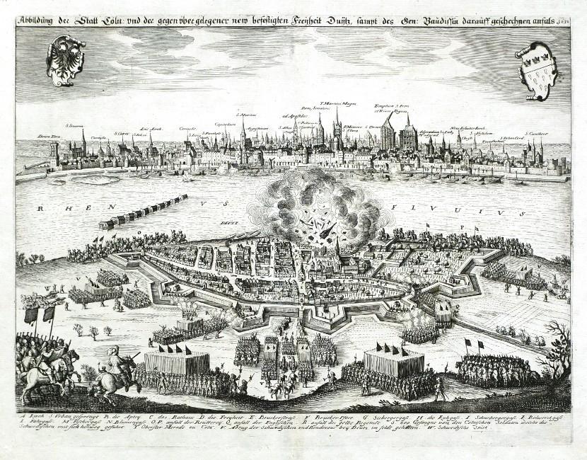 Abbildung der Statt Cöln und der gegenüber gelegener new befestigten Freyheit Duytz, sampt des Gen. Baudissin darauff - Alte Landkarte