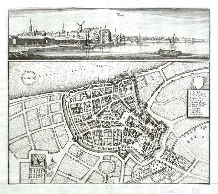 Bonn. Bonna - Antique map