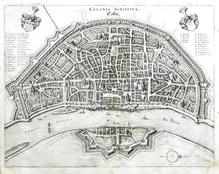 Colonia Agrippina - Cölln - Antique map