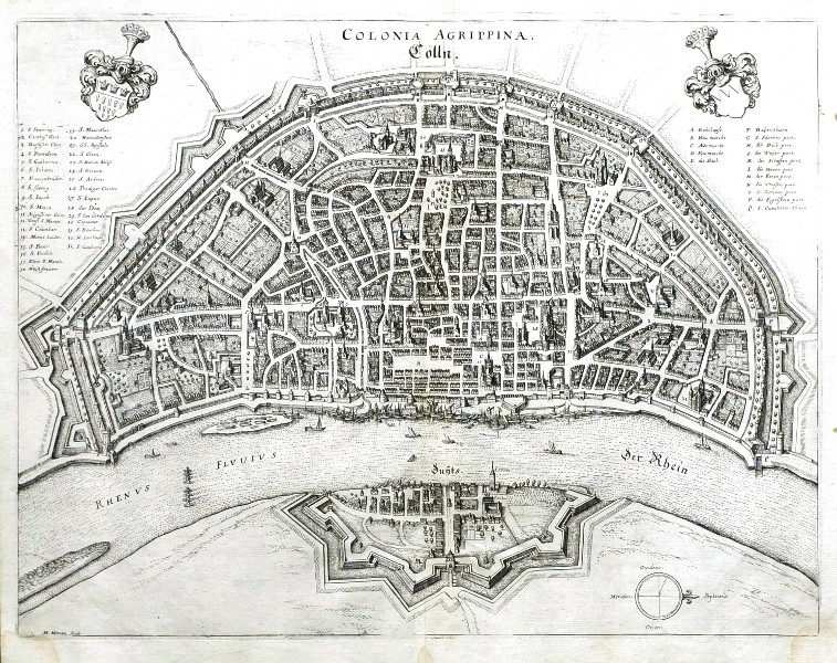 Colonia Agrippina - Cölln - Alte Landkarte