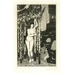 Dívčí akt pod stromy