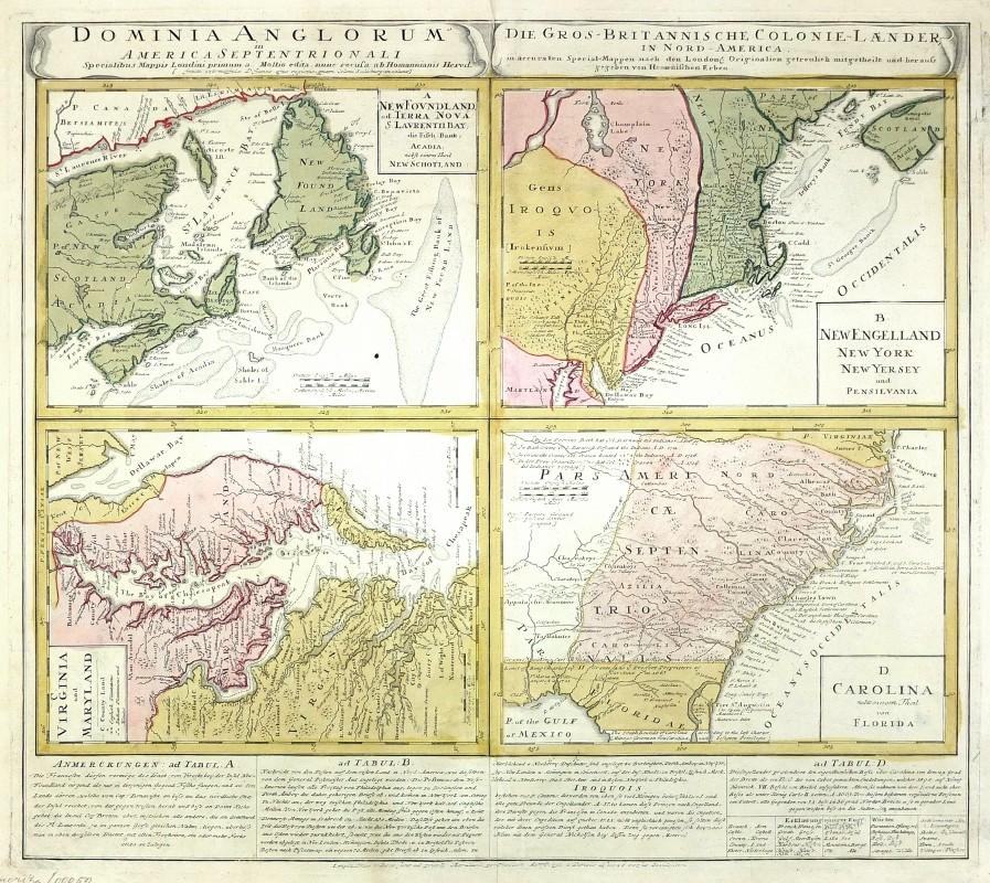 Dominia Anglorum in America Septentrionali. Die Gros-Britannische Colonie-Laender in Nord-America