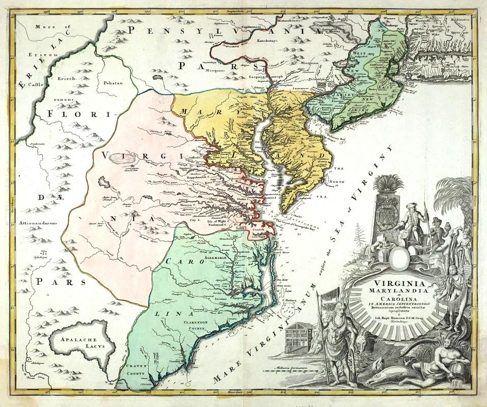 Virginia Marylandia et Carolina in America septentrionali