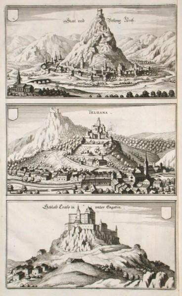 Statt und Festung Arch. Teluana. Schloss Crasp in unter Engedin - Stará mapa