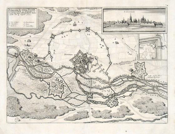 Belägerung der Vestung Benfeldt - Alte Landkarte