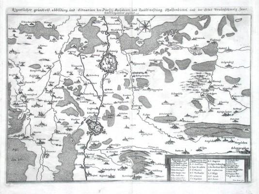 Eigentlicher Grundtriß, Abbildung und Situation der fürstl. Residentz und Haubtvestung Wolfenbüttel und der Stat - Alte Landkarte