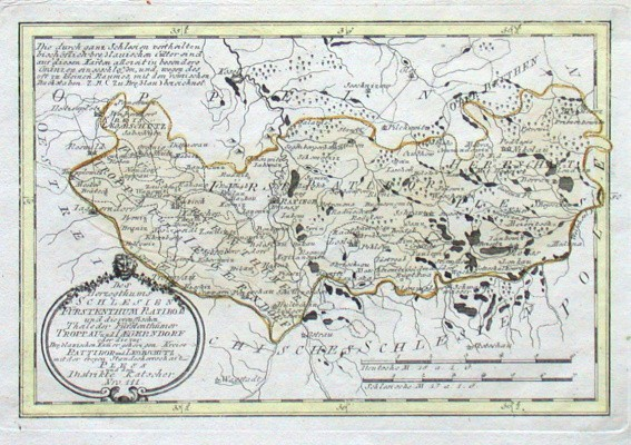Des Herzogthums Schlesien Fürstenthum Ratibor und  Troppau und Iagerndorf oder die  Kreise Rattibor und Leobschütz - Alte Landkarte
