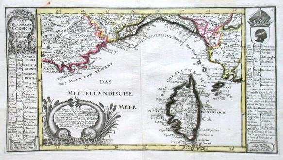 Insul und Konigreich Corsica - Stará mapa