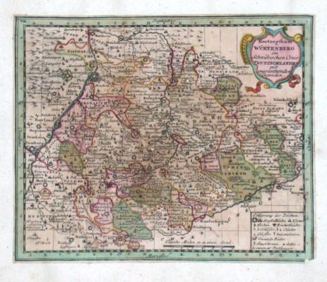 Herzogthum Würtenberg - Stará mapa
