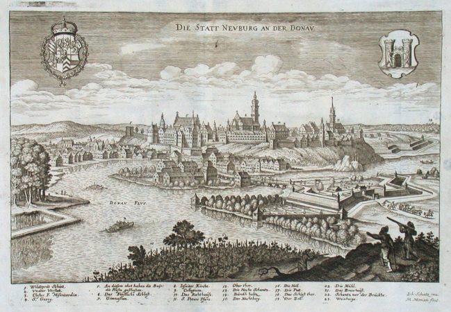 Die Statt Neüburg an der Donav - Stará mapa