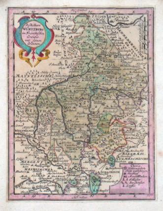 Bischthum Würtzburg im Fränckischen Creisse - Alte Landkarte