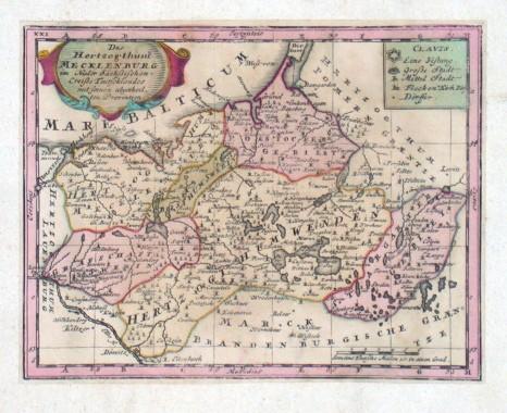 Das Herzogthum Mecklenburg - Alte Landkarte