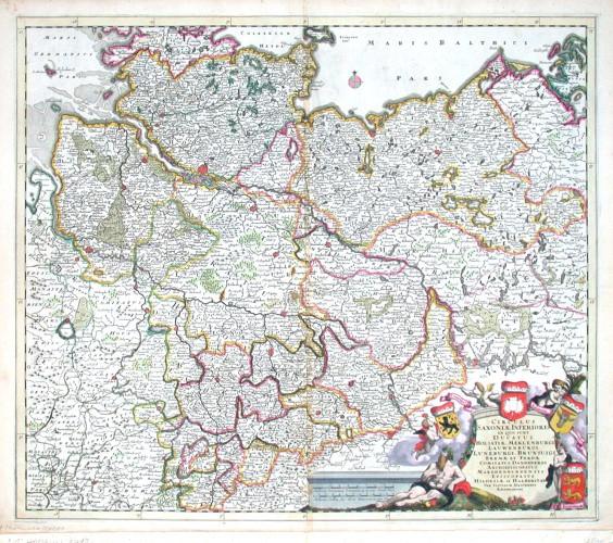 Circulus Saxoniae Inferioris, in quo sunt Ducatus Holsatiae. Meklenburgi, Lauwenburgi - Alte Landkarte